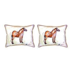 Pair of Betsy Drake Shetland Pony Small Pillows 11 Inch X 14 Inch