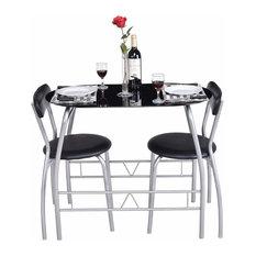 3 Piece Dining Set Glass Modern Furniture Tabel Chairs Bistro Set