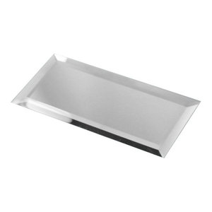 """Silver Peel and Stick Mirror Glass Subway Tile, 3""""x6"""" Tiles, Set of 112"""