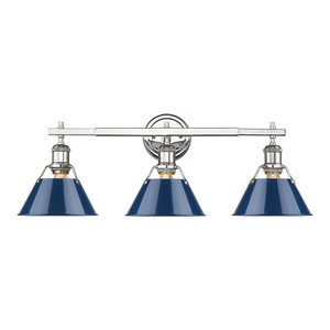 Orwell CH 3-Light Bath Vanity, Chrome With Navy Blue Shades