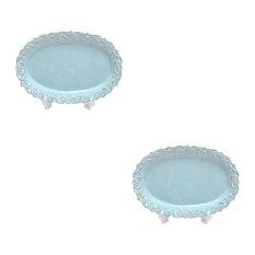 """Set Of 2 Large Ceramic Oval Platte Blue 16.1"""""""