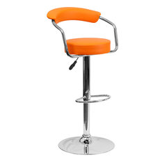 Flash Furniture Orange Vinyl Adjustable Height Barstool