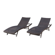 GDF Studio Eliana Outdoor Brown Wicker Chaise Lounge Chairs, Set of 2