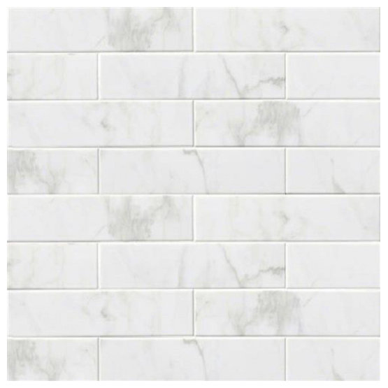 4 X16 Subway Backsplash Tile Ceramic Glossy White Carrara Bathroom Kitchen