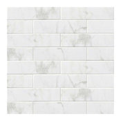 "4""x16"" Subway Backsplash Tile Ceramic, Glossy White Carrara Bathroom Kitchen"