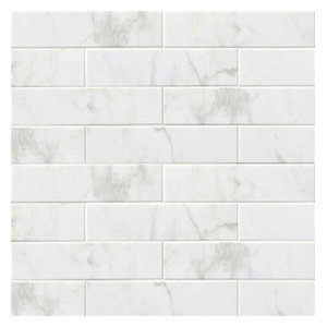 "4/""x16/"" Subway Backsplash Tile Ceramic Glossy White Carrara Bathroom Kitchen"