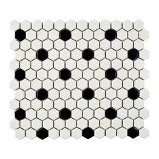 "SomerTile 10.25""x11.88"" Metro Hex w/ Black Dot Porecelain Mosaic Floor/Wall Tile"