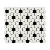 "10.25""x11.88"" Victorian Hex w/ Black Dot Porecelain Mosaic Floor/Wall Tiles"