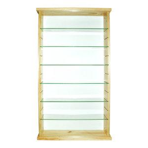 Exhibit Solid Wood 6-Shelf Glass Display Cabinet, Pine