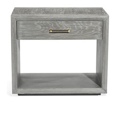 Sutton Bedside Chest Gray Wash Brushed Brass