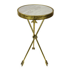 Urban Designs Arrow 30-Inch Marble Round Side Table