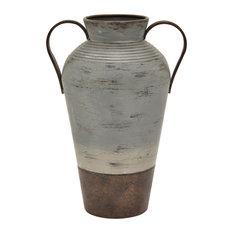"""Three Hands 15.75"""" Metal Vase, Gray"""