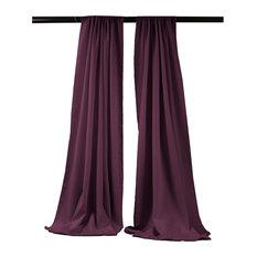 "LA Linen Polyester Poplin Backdrop Drape 96""x58"", 2 Pack, Eggplant"