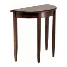 Pemberly Row Half Moon Table In Antique Walnut