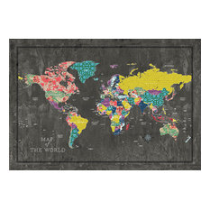 "DDCG - Colorful World Map Canvas Wall Art, 48""x32"", Unframed - Prints and Posters"