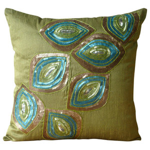 Sequins Peacock Green Art Silk 35x35 Cushions Cover, Peacock Abstract