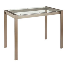 Lumisource Fuji Counter Table, Antique Metal and Clear Glass