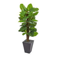 5 Ft. Large Leaf Philodendron Artificial Plant in Slate Planter