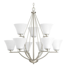 Bravo 9-Light 2-Tier Chandelier Brushed Nickel White Etched Glass