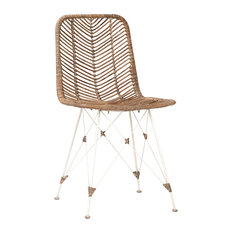 White Frame Rattan Dining Chair