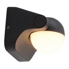 Single Sphere Outdoor LED Wall Lamp, Coal Grey