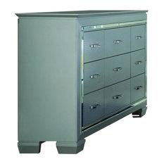 Homelegance Allura 9-Drawer Dresser With LED Lighting, Silver