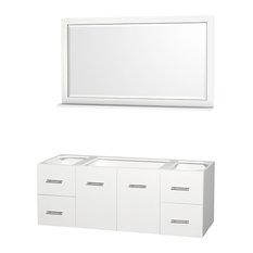 "Centra 60"" Vanity Vanity Base Only, Matte White, 58"" Mirror"