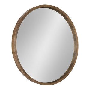 "Hutton Round Decorative Wood Framed Wall Mirror, Rustic Brown, 30"" Diameter"