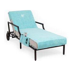 Personalized Standard Chaise Lounge Cover With Side Pockets, Aqua, W
