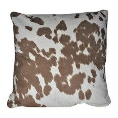 "Cowhide Animal Fur Decorative Beige Ivory Throw Pillow, 18""x18"""