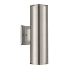 Ascoli, 2-Light Outdoor Sconce, Stainless Steel Finish, Clear Shade