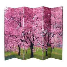 6' Tall Double Sided Cherry Blossoms Canvas Room Divider 6 Panel