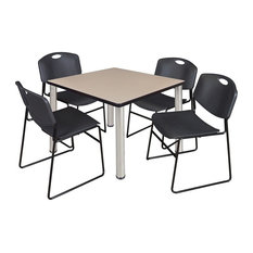 """Kee 42"""" Square Breakroom Table, Beige/ Chrome and 4 Zeng Stack Chairs, Black"""