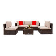Barton 6-Piece Wicker Patio Conversation Sectional Seating Set