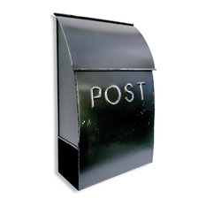NACH Milano Pointed Wall Mounted Mailbox POST, Rustic Black