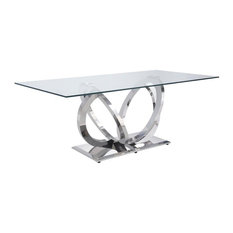ACME Finley Dining Table in Clear Glass and Mirrored Silver Finish