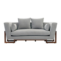 Large Love Seat, Deep Blue, Walnut Base