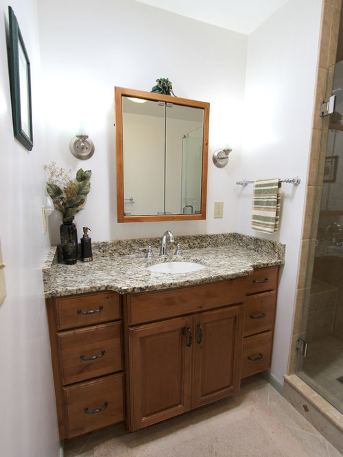 Knotty Alder Vanity With Tile Shower Stow Oh