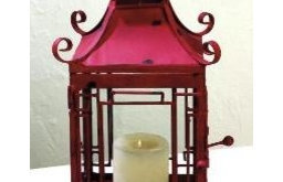 Distressed Red Pagoda Lantern by The Well Appointed House