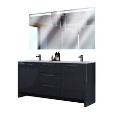 Bathroom Vanity Set With Mirror Double Sink Free Standing, Nona, Glossy Gray
