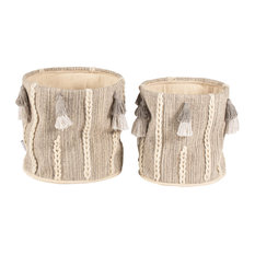 Belgrave Cotton and Wool Storage Baskets With Tassels, Set of 2