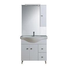 Easy White Freestanding Vanity Unit, 85 cm