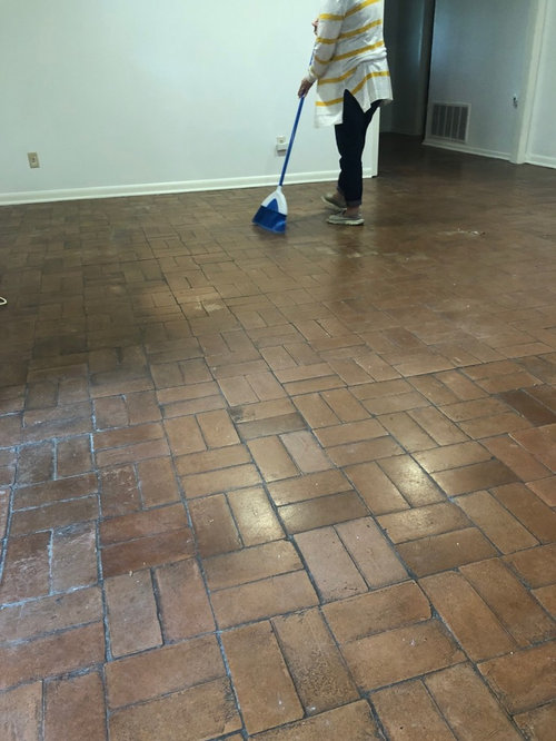 Any Tips On How To Clean This Brick Floor Not Sure If It
