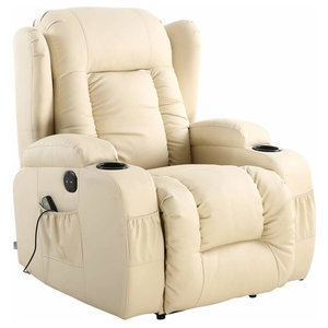 Modern Electric Recliner in Bonded Leather with Cup Holder, Cream