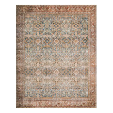 """Ocean, Rust Printed Polyester Layla Area Rug by Loloi II, 3'-6""""x5'-6"""""""