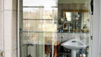 zweiseitig nutzbare Dusche in tragender Wand