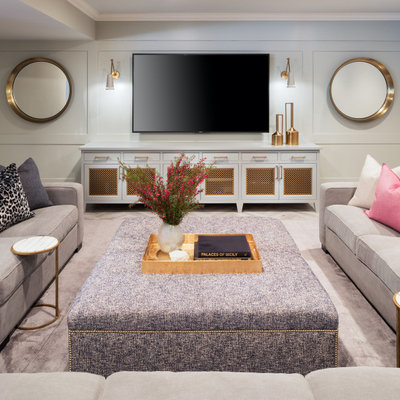 Example of a transitional home theater design in Minneapolis
