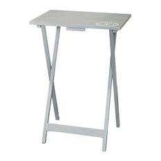 Linon Rubberwood Tray Table With Gray Finish