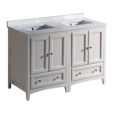 "Oxford 48"" Antique White Traditional Double Sink Bathroom Cabinet, Top, Sinks"