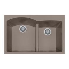 Houzer Quartztone Series Topmount Double Bowl Granite Kitchen Sink, Taupe